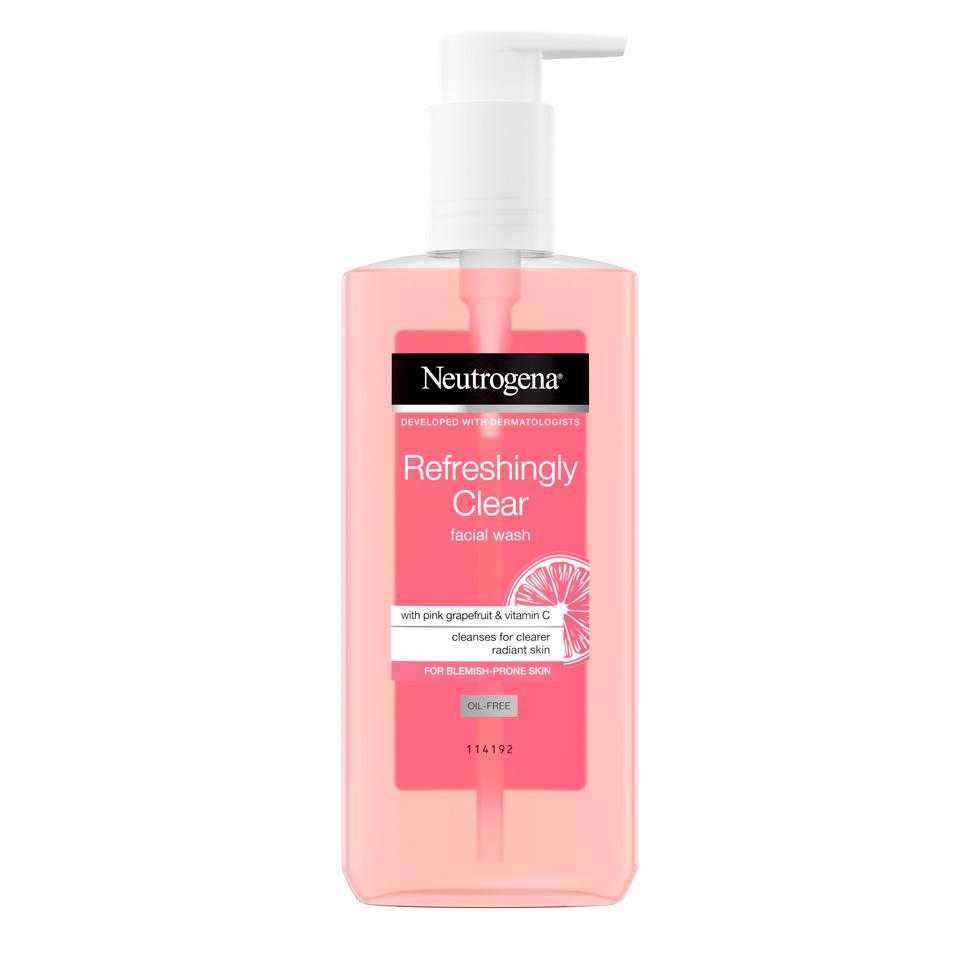 ניוטרוג'ינה® Refreshingly Clear  תרחיץ פנים מרענן במיוחד בניחוח אשכולית ורודה